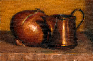Oil painting of a small copper jug beside a brown onion.