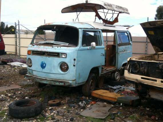 Old VW van in wrecking yard. So much for van life!