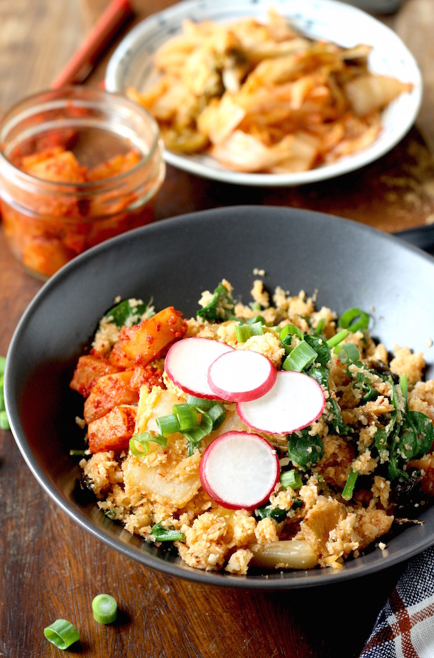 Kimchi Cauliflower Fried Rice recipe by SeasonWithSpice.com