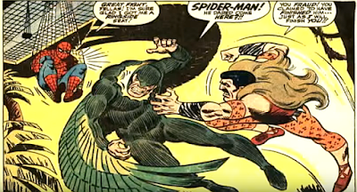 Amazing Spider-Man #49, john romita, spider-man, the new vulture and kraven confront each other as a camera hangs ready to photograph the battle