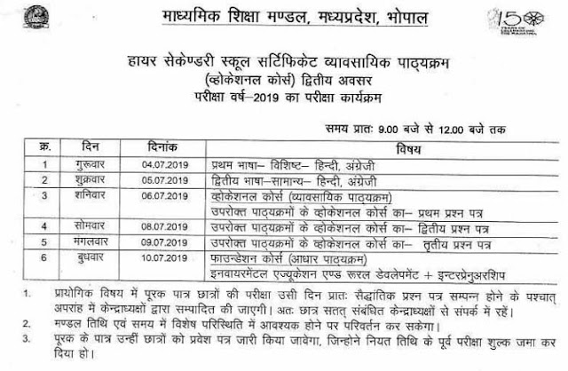 MPBSE 12th Vocational Supplementary Exam Time Table 2019