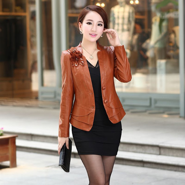 jaket kulit wanita cantik murah warna coklat