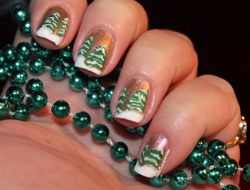 Wintery scene nail art - Set in Lacquer