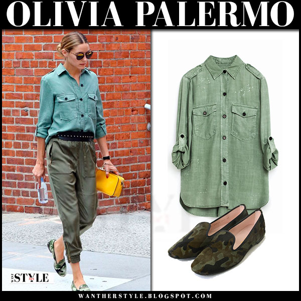 Olivia Palermo in khaki green military zara shirt and green satin joggers what she wore streetstyle