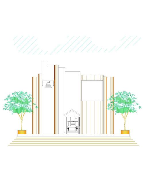 plano templo zapote de negretes fachada dwg