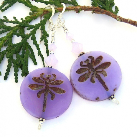 The Dragonfly Magic handmade earrings feature beautiful lavender purple Czech glass dragonfly coins and sparkling Swarovski crystals - jewelry for women.