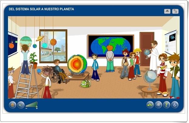 """""""Del Sistema Solar a nuestro planeta"""" (Aplicación interactiva de Ciencias Sociales de Primaria)"""
