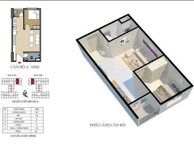 Thiết kế căn hộ 36m2 dự án Ecohome 3