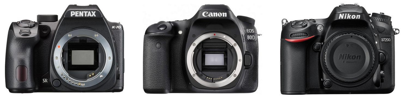 Pentax K-70, Canon 80D и Nikon D7200