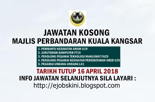 Jawatan Kosong Majlis Perbandaran Kuala Kangsar 16 April 2018
