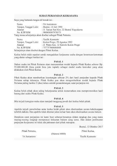 contoh surat perjanjian kerjasama bagi hasil assalam print