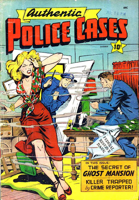 Authentic Police Cases v1 #8 st john crime comic book cover art by Matt Baker
