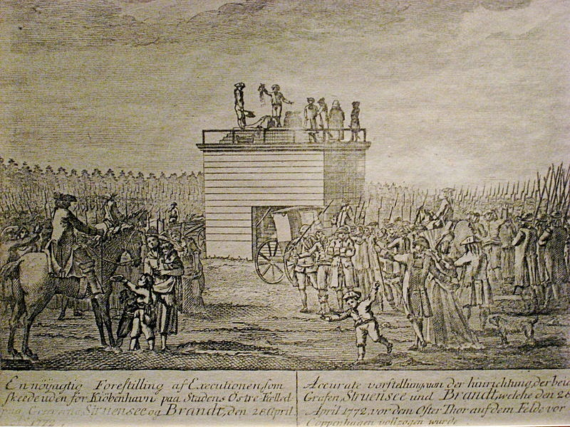 Woodcut depicting the execution of Johann Friedrich Struensee