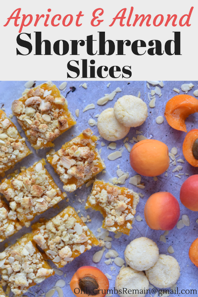 How to make an Apricot & Almond Shortbread Traybake, which is an easy recipe and produces an afternoon treat consisting of three layers:  Almond shortbread, apricot jam, and an amaretti crumble.