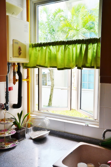 The Start of Lime Green Kitchen Curtains