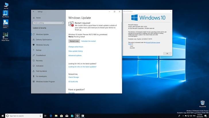 Microsoft Rilis Windows 10 Insider Preview Build 18272 Untuk Fast Ring