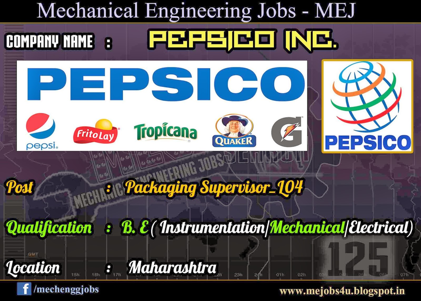 pepsico packaging supervisor experienced mechanical job description for packaging leader