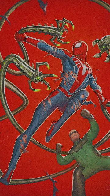 spider man vs octopus fan art wallpaper for phone