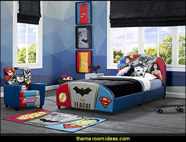Justice League Upholstered Twin Bed  Superheroes bedroom ideas - batman - spiderman - superman decor - Captain America - comic book bedding - batmobile bed - Wonder Woman Girls superhero - marvel wall art Avengers - superman bedding - primary color bedroom ideas - spiderman room decor - decorating with comics - Batman furniture - Wonder Woman furniture - Avengers bedroom furniture