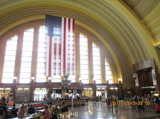 Interior great room of Cincinnati Union Terminal Museum Center, showing huge arch window and ceiling