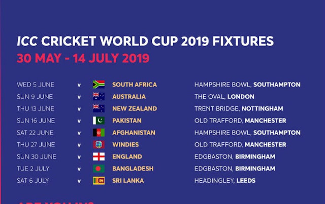 world cup 2019 schedule