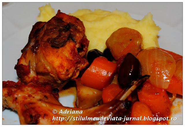 friptura de iepure, cartofi piure, rosii cherry murate
