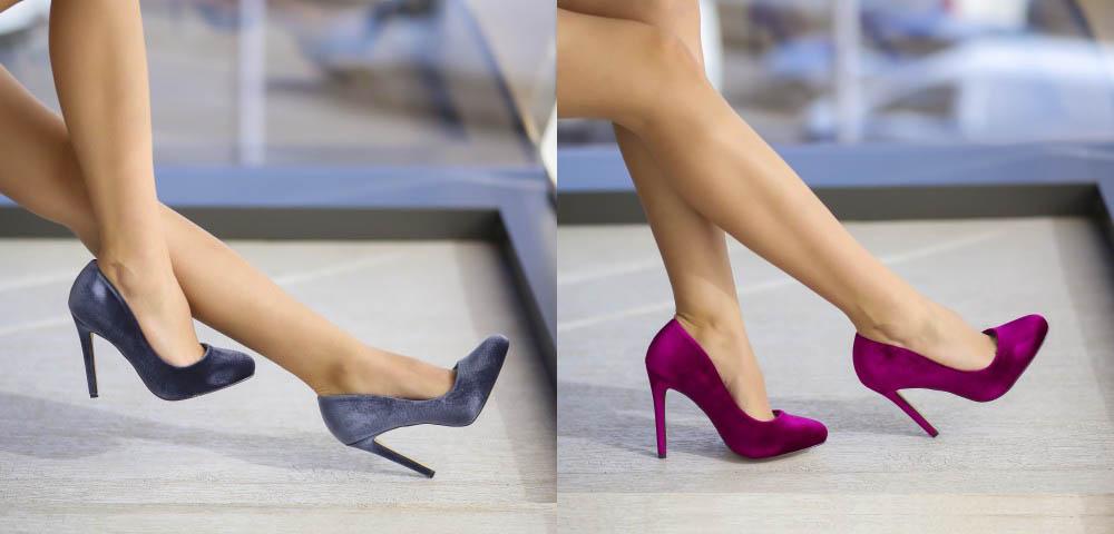 Pantofi de catifea roz, gri de ocazii cu toc inalt ieftini