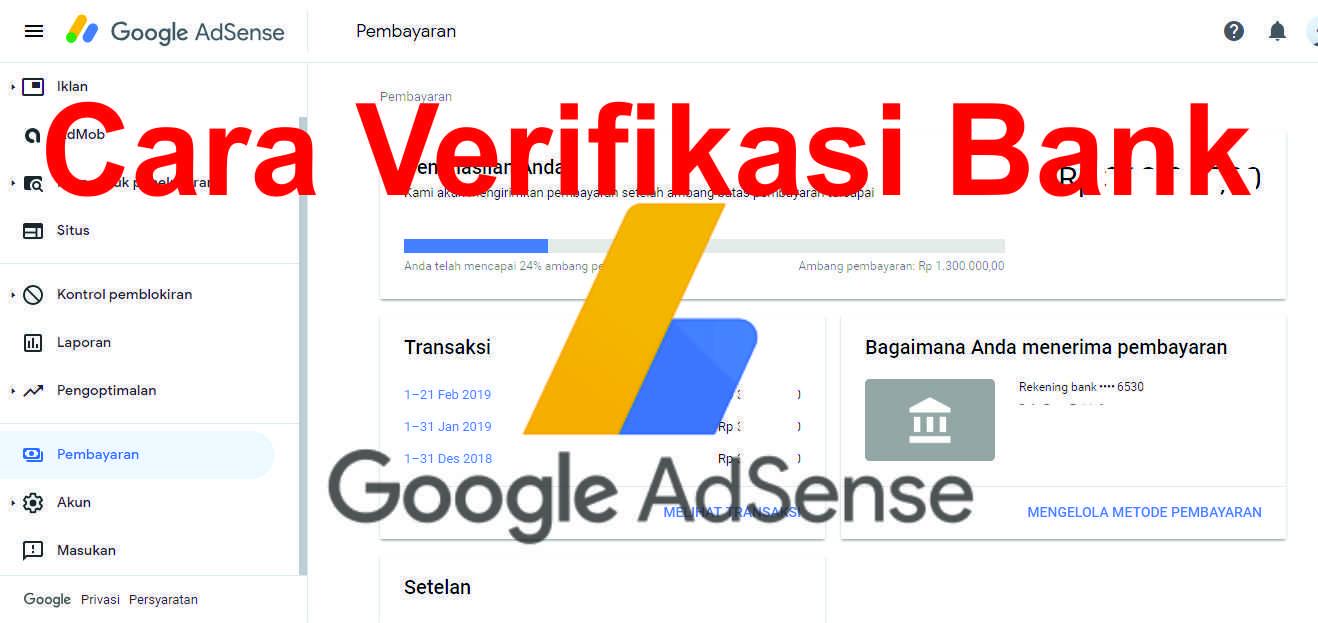 Cara Verifikasi Rekening di Akun Google Adsense Blogger