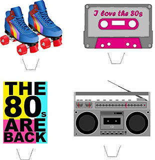 1980s Themed Paper Cake Toppers