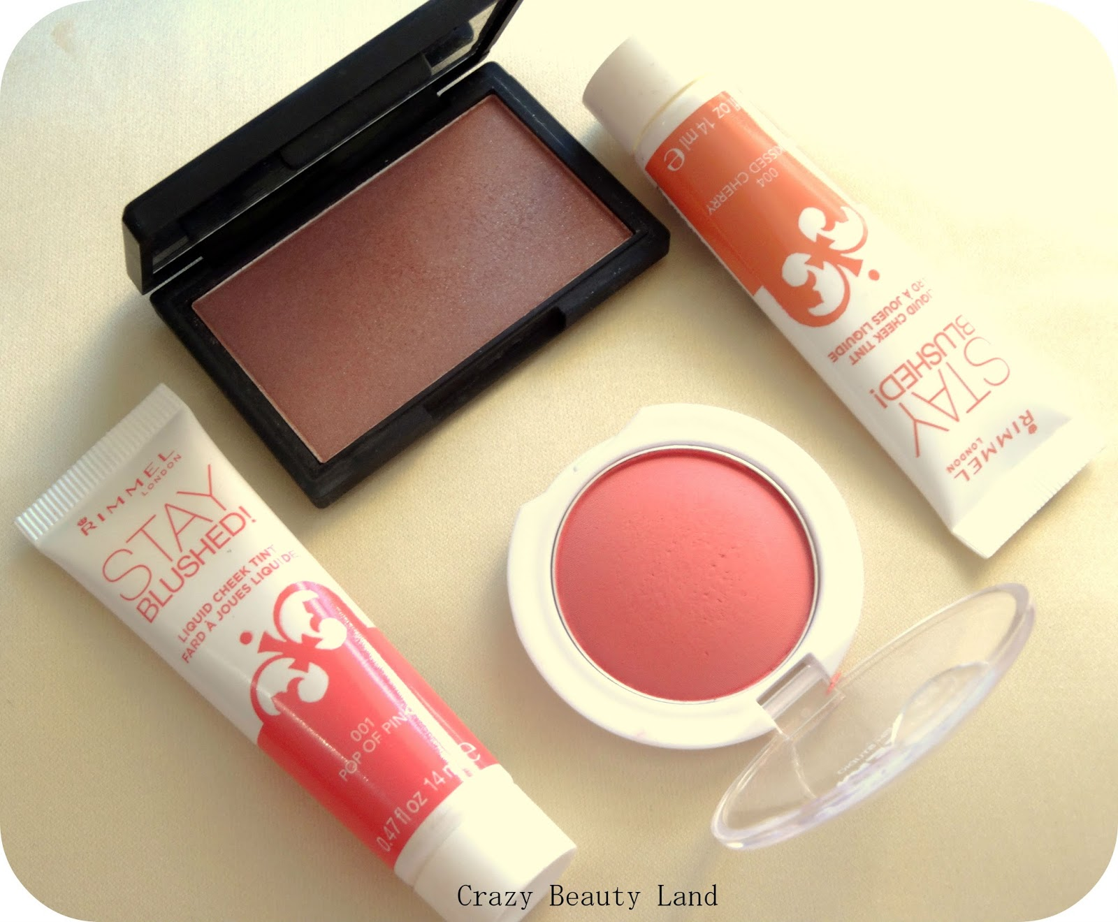 Sleek Makeup Antique Blush, Rimmel Stay Blushed Liquid Cheek Tint Sunkissed Cherry, Maybelline Cheeky Glow Blush Fresh Coral, Rimmel Pop of Pink
