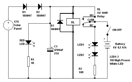 solar emergency light circuit  how to build automatic night light control or swi on wiring up