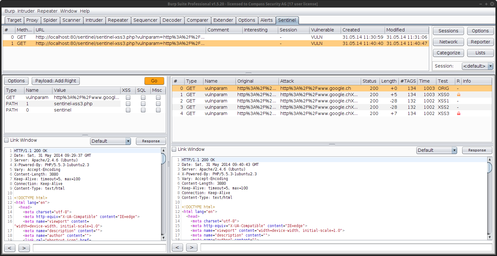 BurpSentintel - GUI Burp Plugin to ease discovering of security