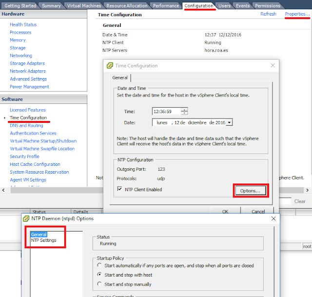 VMWare: ESXi configurar hora