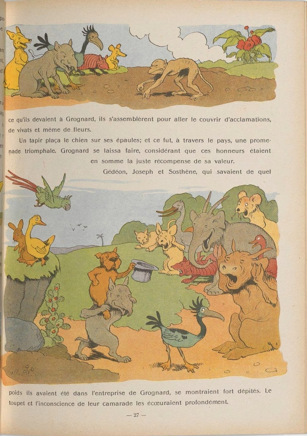 hilarious book illustration scenes of animals behaving like humans in French children's book 1933