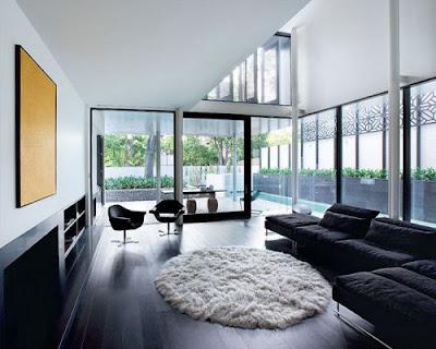 Kết hợp sàn gỗ tối màu cho phòng khách