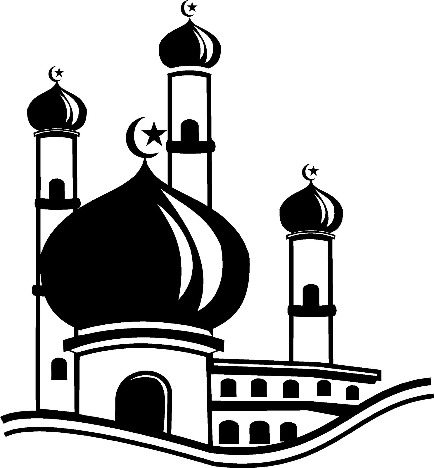 Gambar Kaligrafi Masjid Hitam Putih