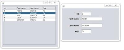show jtable row data