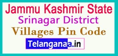 Srinagar Pin Codes in Jammu Kashmir State