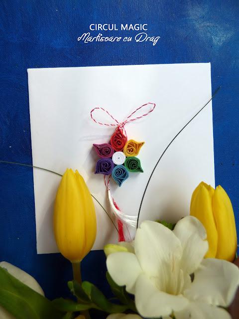 Martisoare Quilling 2017 Floare de Curcubeu Circul Magic