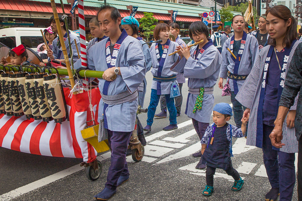 Children with a neighborhood float at the Sanja Matsuri, Asakusa, Tokyo, 2016.