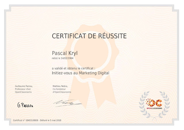 Certificat Open Classroom : Initiez-vous au Marketing Digital.