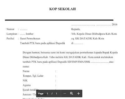 Surat Permohonan PTK Baru Aplikasi Dapodik 2016