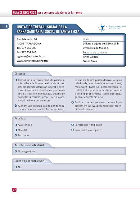 Xarxa de Suport a les Famílies Cuidadores de Tarragona: Unitat de Treball Social de la Xarxa Sanitària i Social Santa Tecla