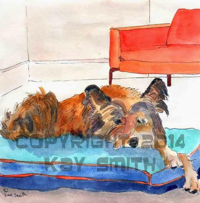 KaySmithBrushworks: Scruffy dog on blue bed