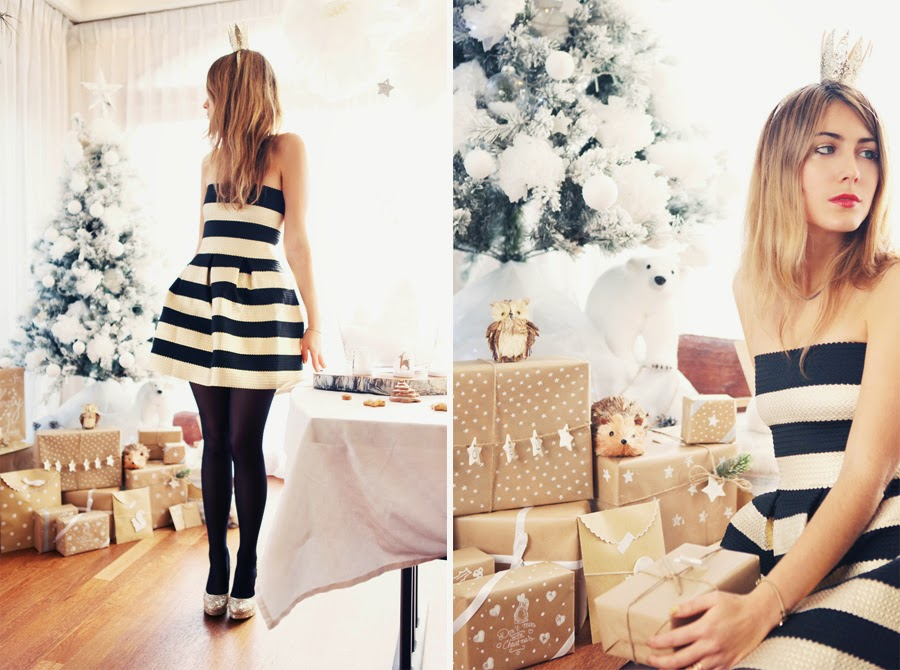 tenue soirée doré et noire pour Noël et nouvel an