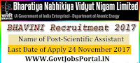 Bharatiya Nabhikiya Vidyut Nigam Limited Recruitment 2017-14 Scientific Assistant