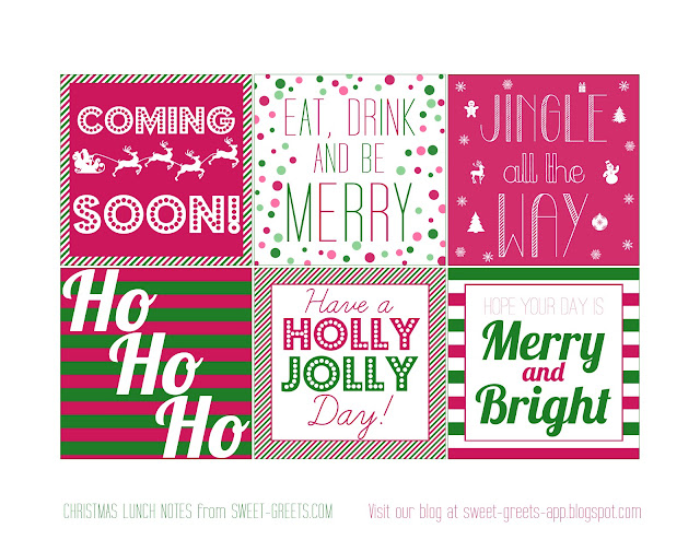Printable Christmas Lunch Box Notes