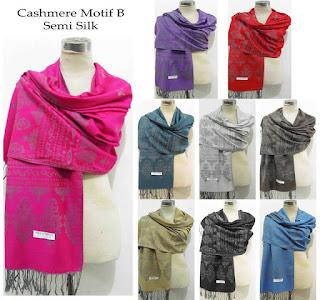 pashmina grosir murah cashmere motif silk premium