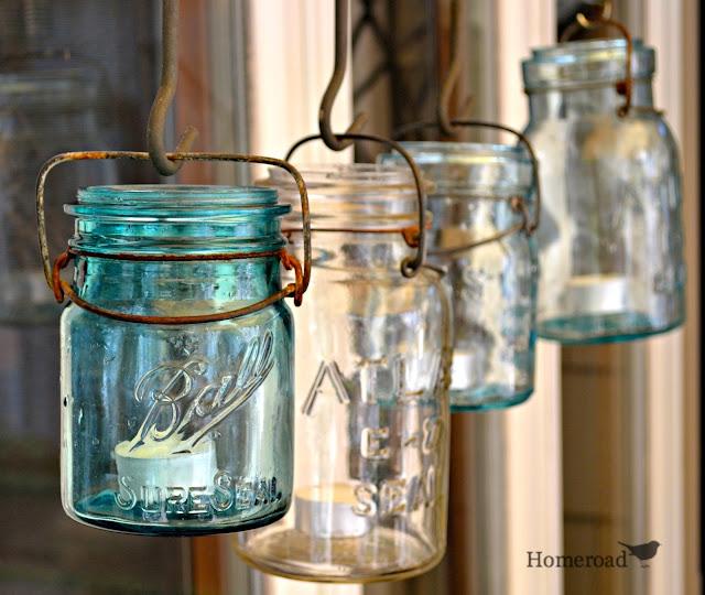 Hanging mason jars with tea lights