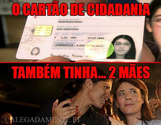 Imagem de um Cartão de Cidadão e de Catarina Martins e Mariana Mortágua – O Cartão de Cidadania Também tinha… 2 Mães